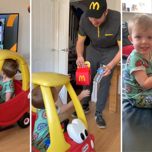 Vader maakt thuis drive-thru voor jarig zoontje dat niet naar buiten kan