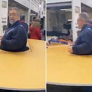 Italiaanse man draagt grote schijf om zich heen om mensen op afstand te houden