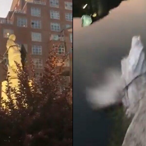 Betogers in Baltimore halen standbeeld van Columbus neer