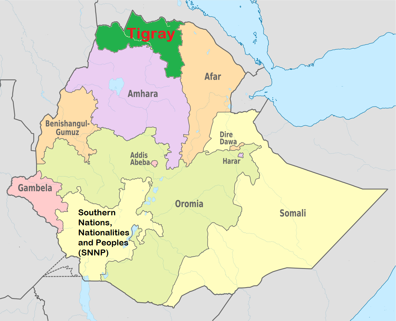 Tigray on a map