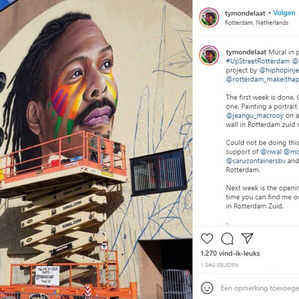 Nederlandse songfestival artiest Jeangu Macrooy krijgt groot straatkunstportret bij Ahoy