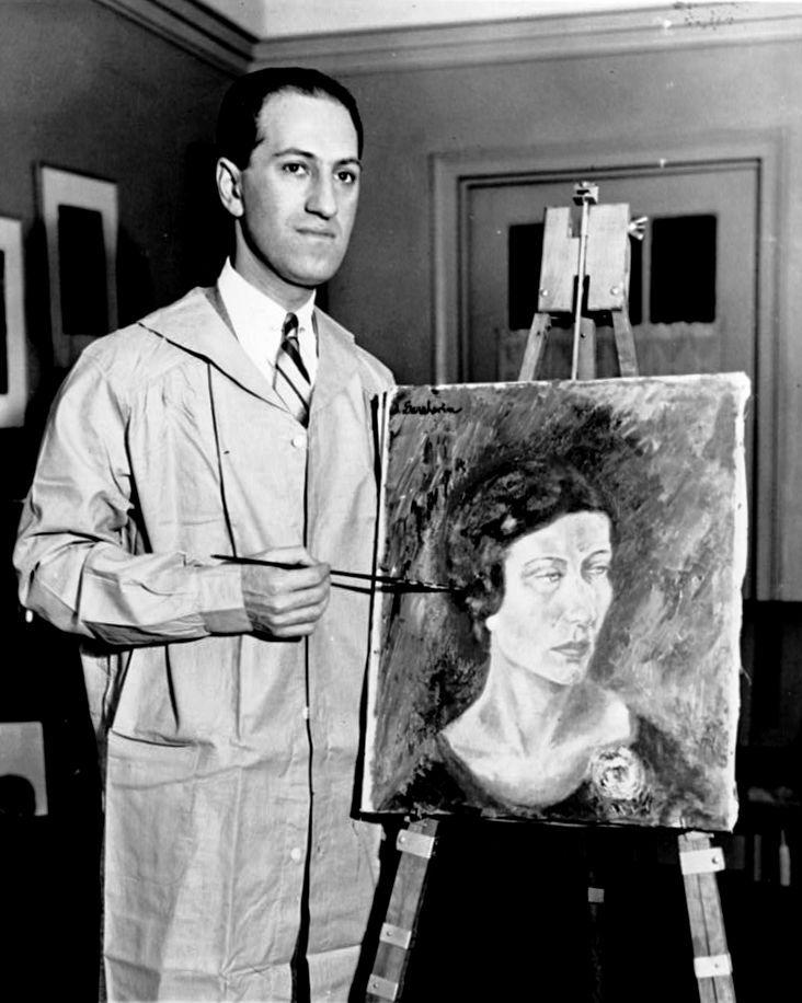 George gershwin met zijn eerste olieverfschilderij new york 1931 wikimedia commons