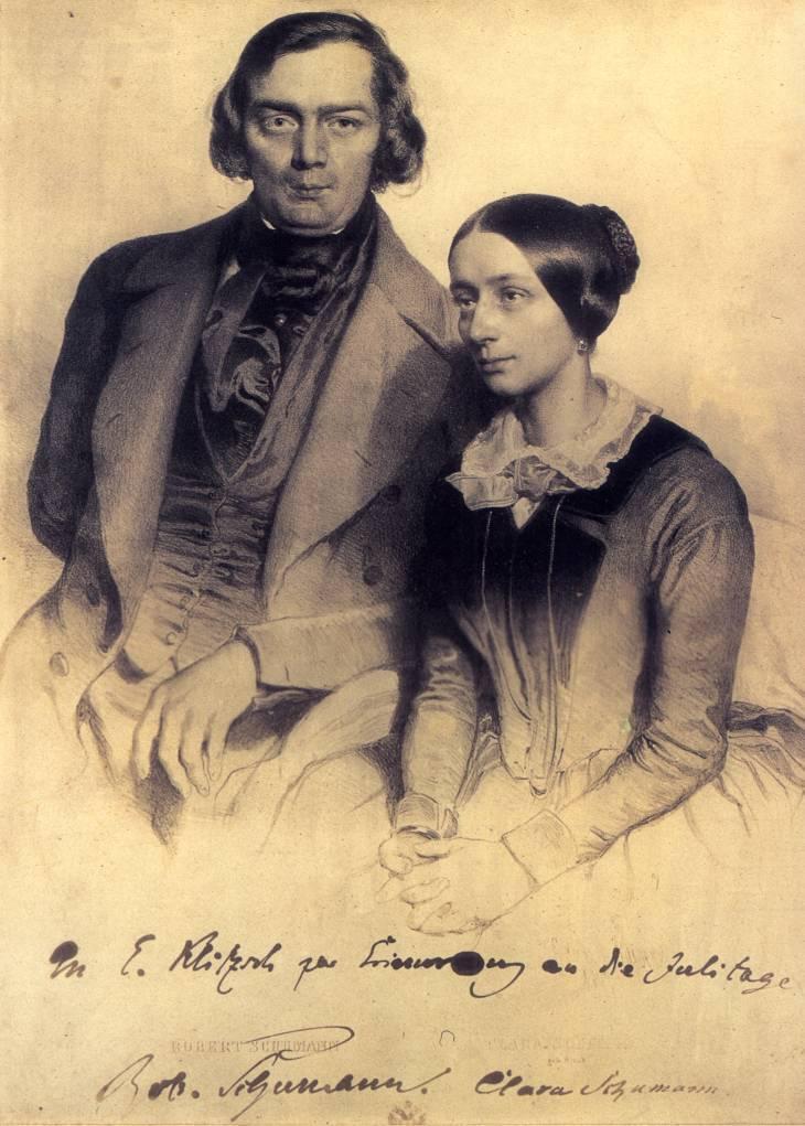 Robert en clara schumann in 1847 wikimedia commons