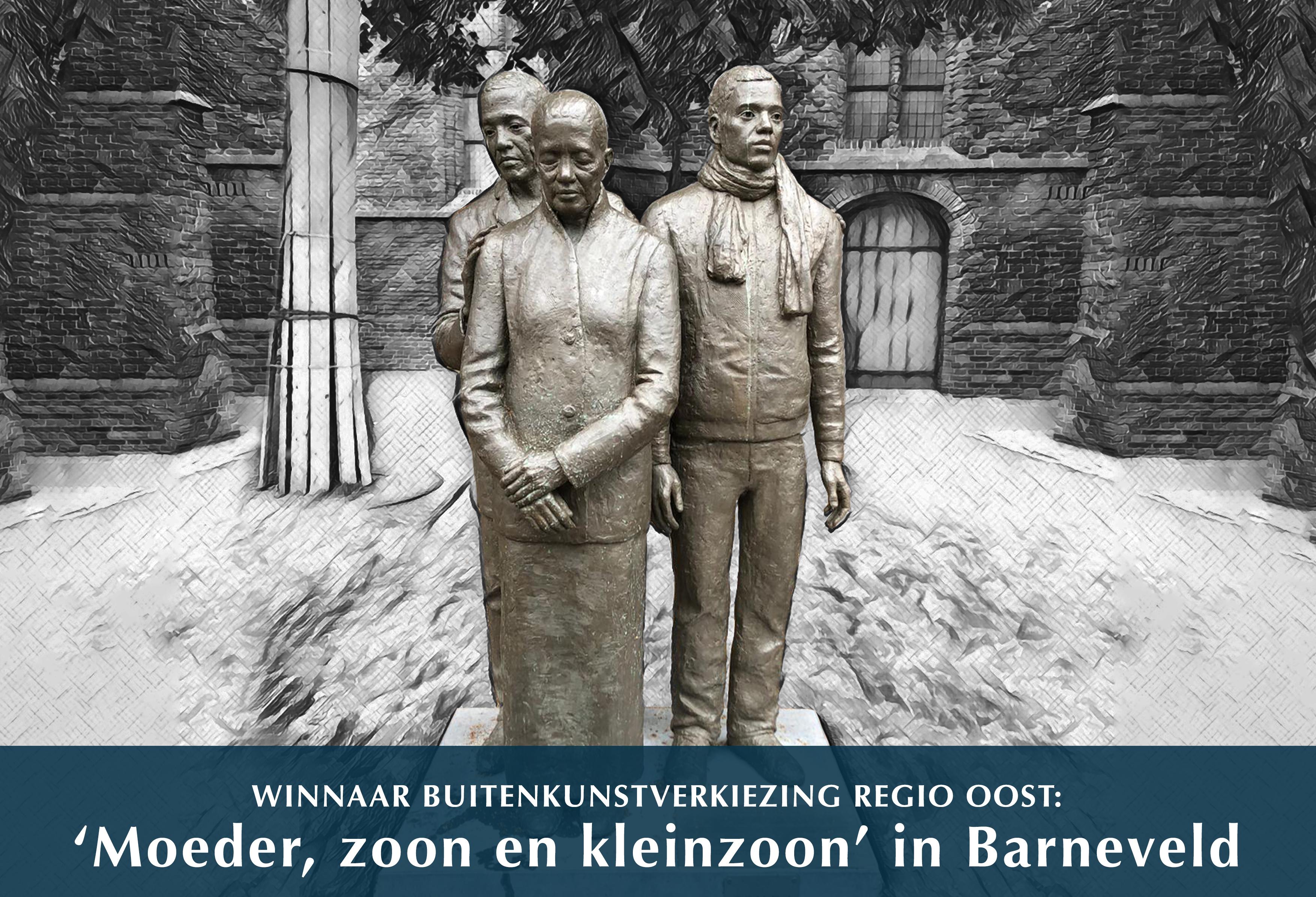 Winnaar buitenkunstverkiezing Regio Oost 'Moeder, zoon en kleinzoon' in Barneveld