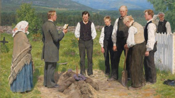 07 3e02f6396f Erik Werenskiold 1855 1938 Peasant burial The National Museum of Art Architecture and Design Norway