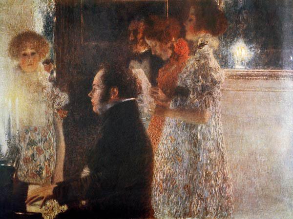 Schubert aan de piano, geschilderd door Gustav Klimt