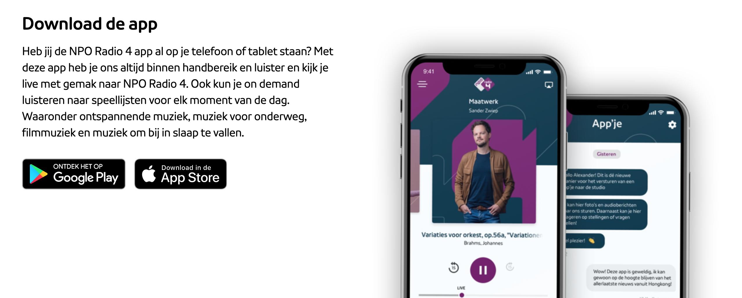 Download de NPO Radio 4 app
