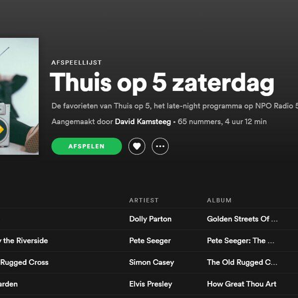 Spotify lijst zaterdag